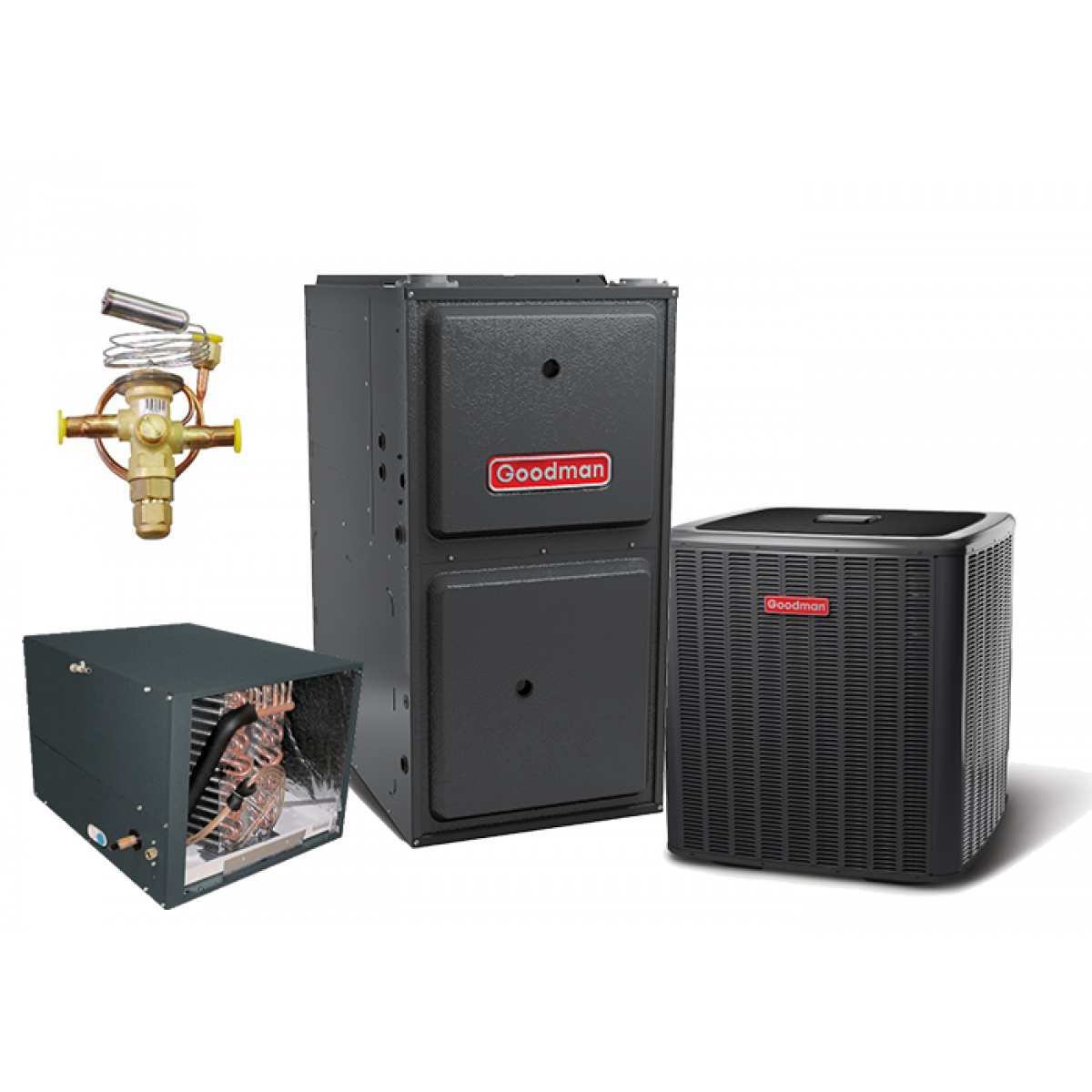 #A92226 Goodman 15 SEER 3.5T 96% 80K BTU Two Stage Variable Speed  Top of The Line 13234 Natural Gas Air Conditioning Systems picture with 1200x1200 px on helpvideos.info - Air Conditioners, Air Coolers and more