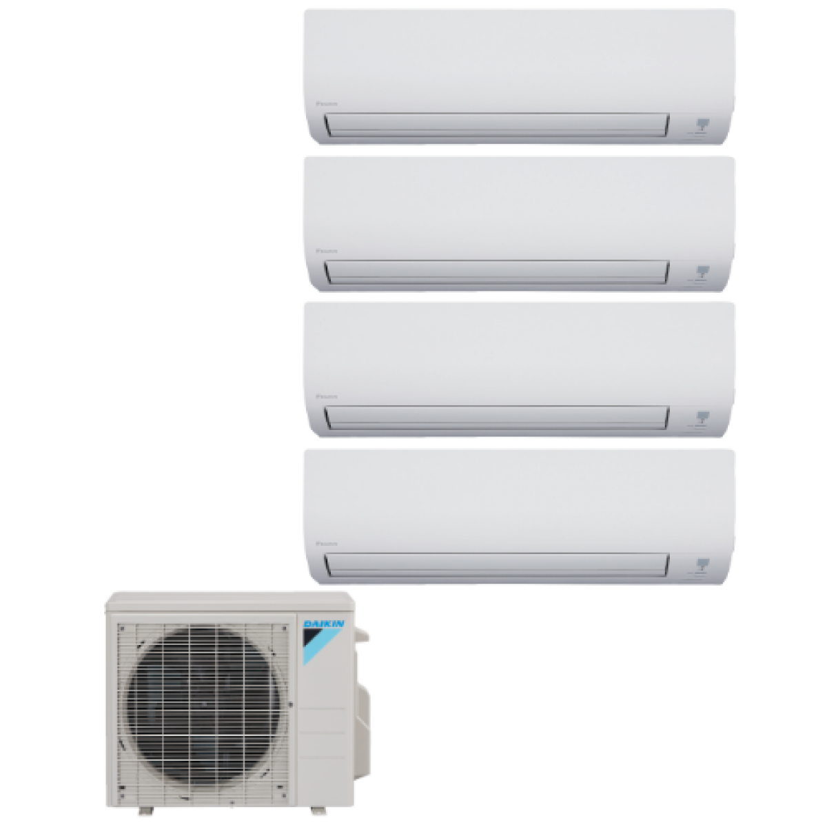 Daikin 4 zone 36k btu heat pump with four 4 9k btu for Ductless ac
