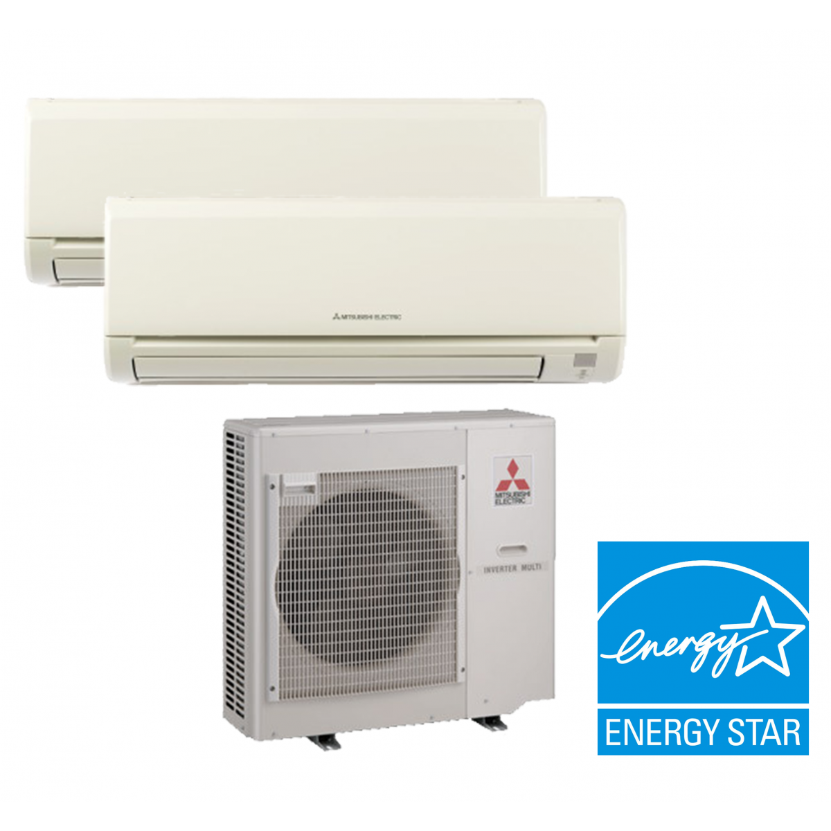 Mitsubishi mxz 2b20na 2 zone heat pump with two 2 9 000 Ductless ac