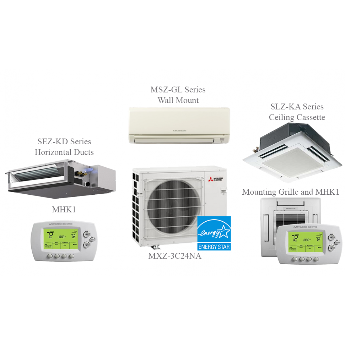 Indoor Heating And Cooling Units : Mxz a na split air conditioning and heating k btu