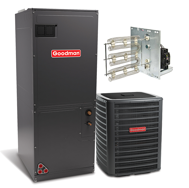 Goodman 2 5 ton 15 seer with electric heat split system for Electric heating systems homes