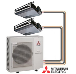 which running units unit conditioning system ductless consists slim lines electric outdoor air indoor split by are of the connected and mitsubishi series refrigerant two p