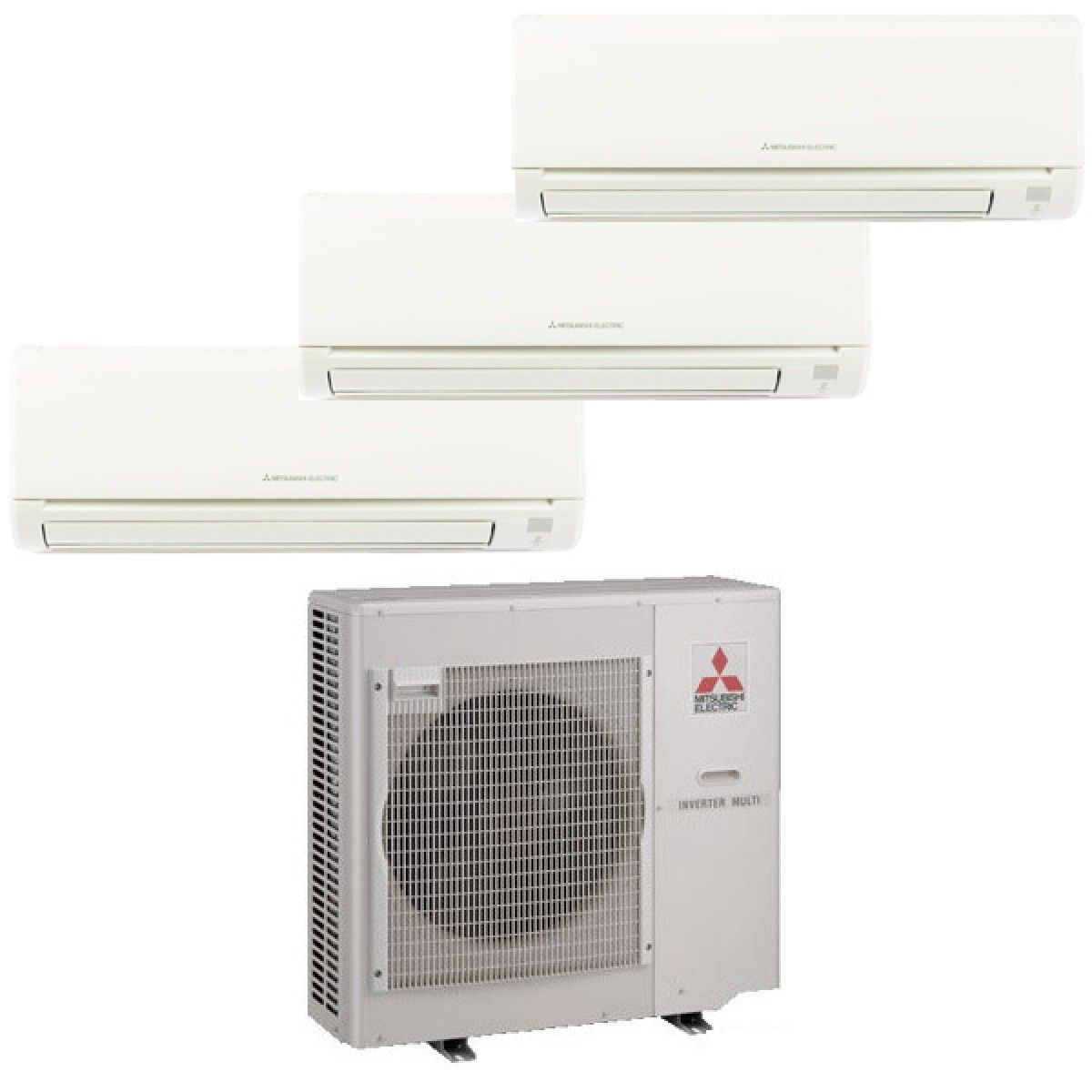 Mitsubishi mr slim 3 zone heat pump with 2 9k btu indoor for Ductless ac