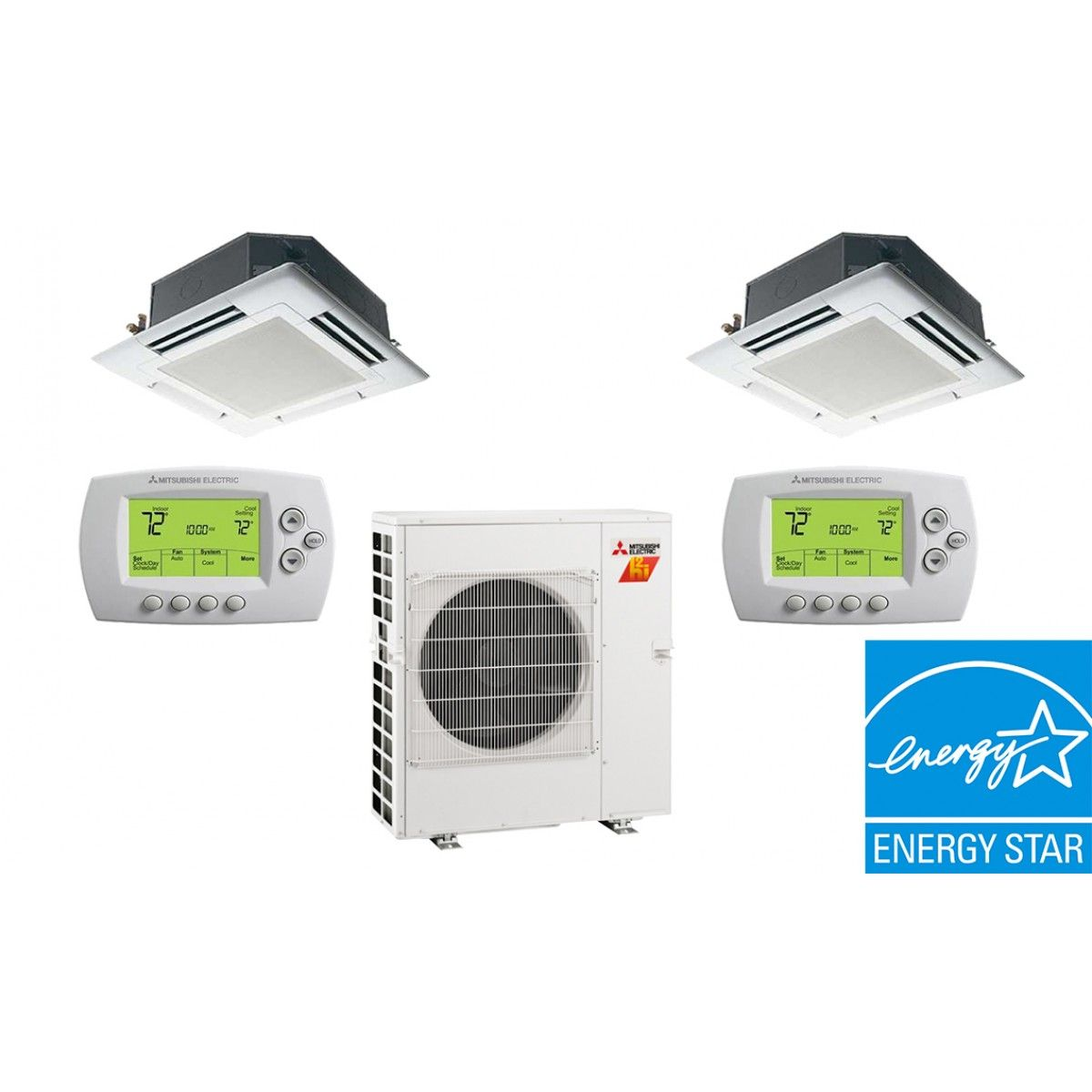 Mitsubishi 20K BTU 17 SEER 2 Zone Heat Pump Hyper Heat With Two (2) 9K BTU  Ceiling Cassettes Units