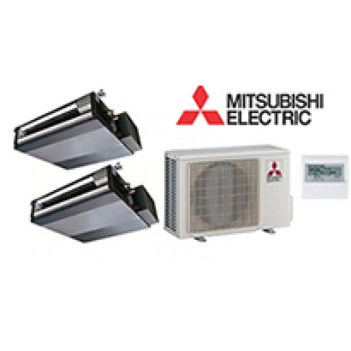 mitsubishi mr slim 2 zone ducted heat pump with 9k 9k btu indoor units