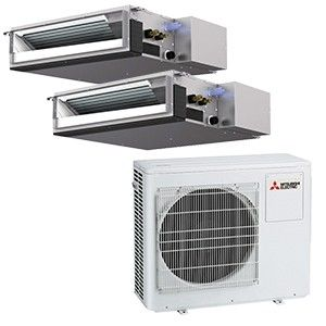 Mitsubishi Mr Slim 2 Zone Ducted Heat Pump Condenser With 2 9K BTU Indoor Units