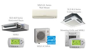 Mitsubishi MXZ-3C30NA Split Air Conditioning and Heating 30K BTU - 3 Indoor Units