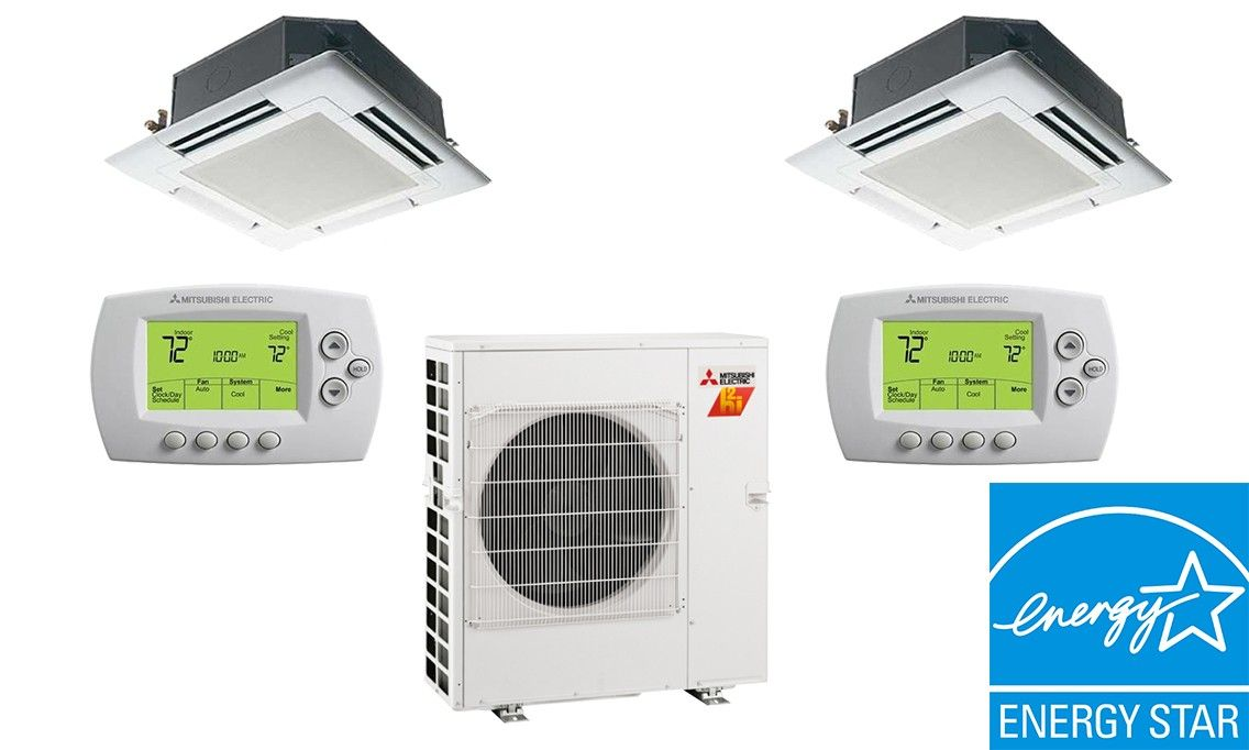 Mitsubishi 20K BTU 17 SEER 2 Zone Heat Pump Hyper Heat With Two (2) 9K BTU Ceiling Cassettes Units