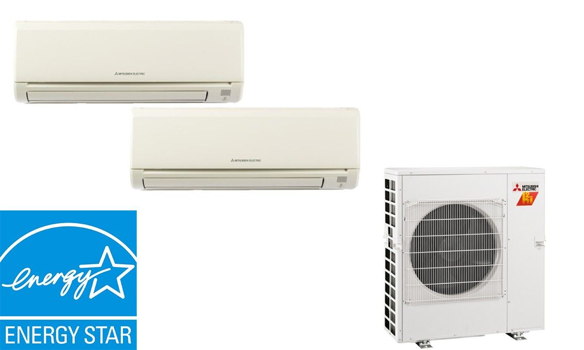 Mitsubishi 2 Zone Mini Split Heat Pump AC System MXZ-2CNAHZ - 20,000 BTU With Two (2) 9K BTU Wall Mount Units