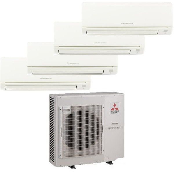 Mitsubishi Mr Slim 4 Zone Heat Pump with (3) 9K Btu indoor units and (1) 15k BTU unit