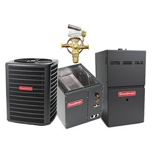Goodman 3.0 Ton 15 SEER Heat Pump with 96% 80K BTU Two Stage Variable Speed Natural Gas Furnace Upflow