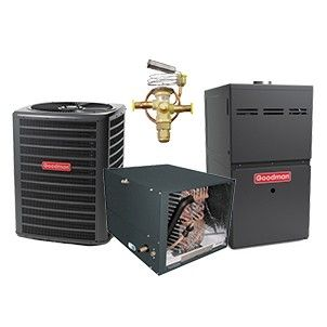 Goodman 2.0 Ton 14 SEER Heat Pump with 60K BTU 80% Efficient Two Stage Variable Speed Gas System Horizontal