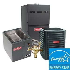 Goodman 3.0 Ton 18 SEER  Two Stage System with 80% Efficient 80K BTU  Natural Gas Furnace Two Stage Variable Speed Upflow Energy Star