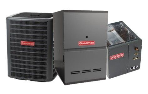 Goodman 3.5 ton AC with 80K BTU 80% Natural Gas Furnace Two Stage Downflow System