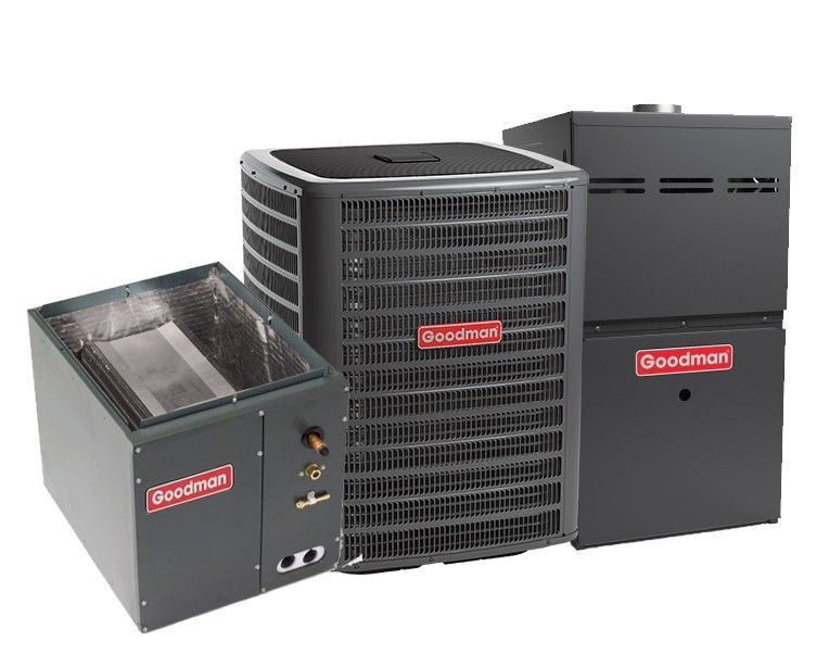 Goodman 2.5 Ton 13 SEER 80% Efficient 80,000 BTU Single Stage Gas Furnace & Air Conditioning System - Upflow