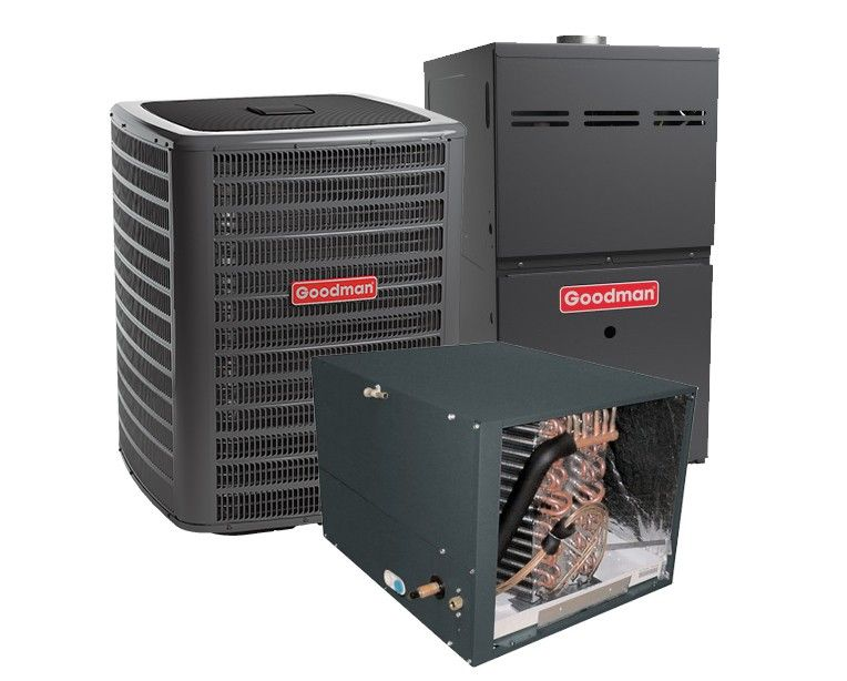 Goodman 3.5 Ton 13 SEER 80% Efficient 60,000 BTU Single Stage Gas Furnace & Air Conditioning System - Horizontal