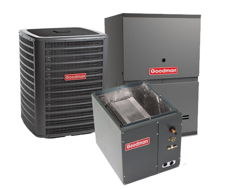 Goodman 3.0 Ton 13 SEER 80% Efficient 80,000 BTU Single Stage Gas Furnace & Air Conditioning System - Downflow
