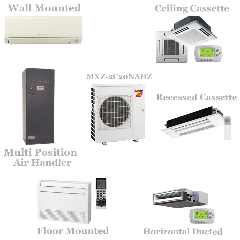 Mitsubishi 2 Zone Mini Split Heat Pump AC System - MXZ-2C20NAHZ