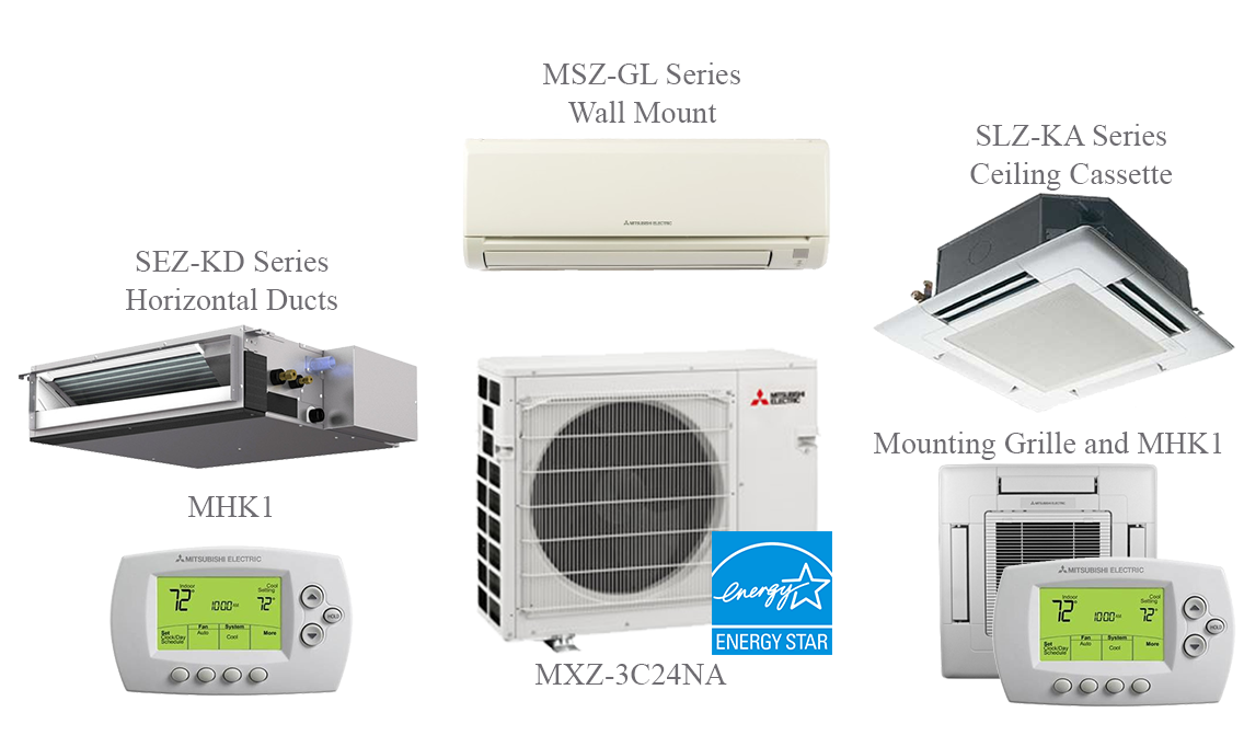 MXZ-3C30NA Split Air Conditioning and Heating 30K Btu - 3 Indoor Units