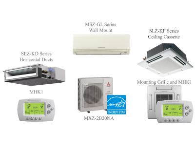 MXZ-2C20NA Split Air Conditioning and Heating 20K BTU - 2 Indoor Units