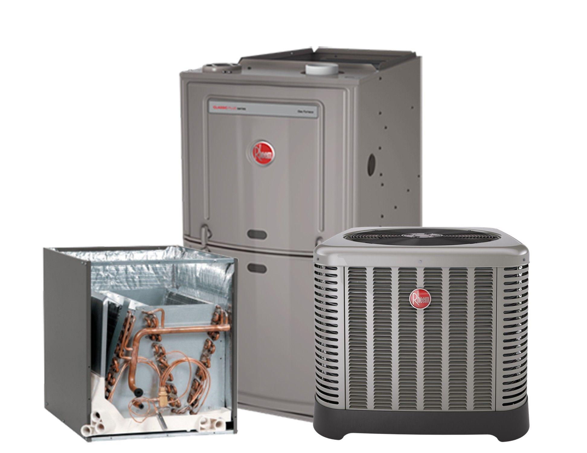 Rheem 1.5 Ton 14 SEER AC system with 80% 50K BTU Natural Gas Furnace