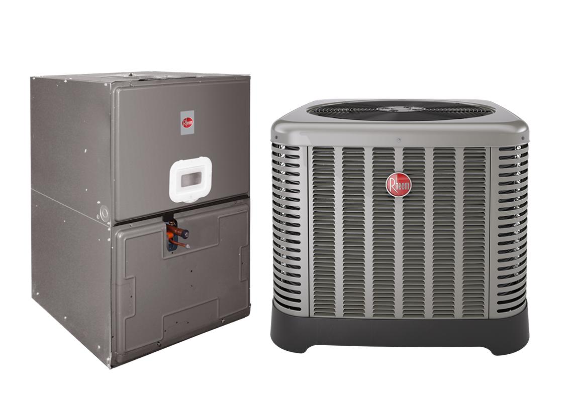 "Rheem 3.5 Ton 14 SEER Electric Heat Split System with 10 KW  ; 35"" Air Handler"