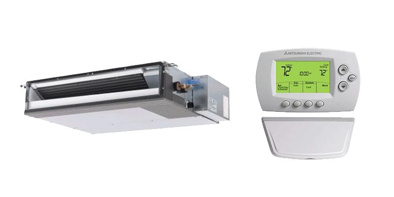 18K BTU Mitsubishi SEZ-KD Horizontal Ducted Heat Pump Indoor Unit with MHK1 Remote Controller