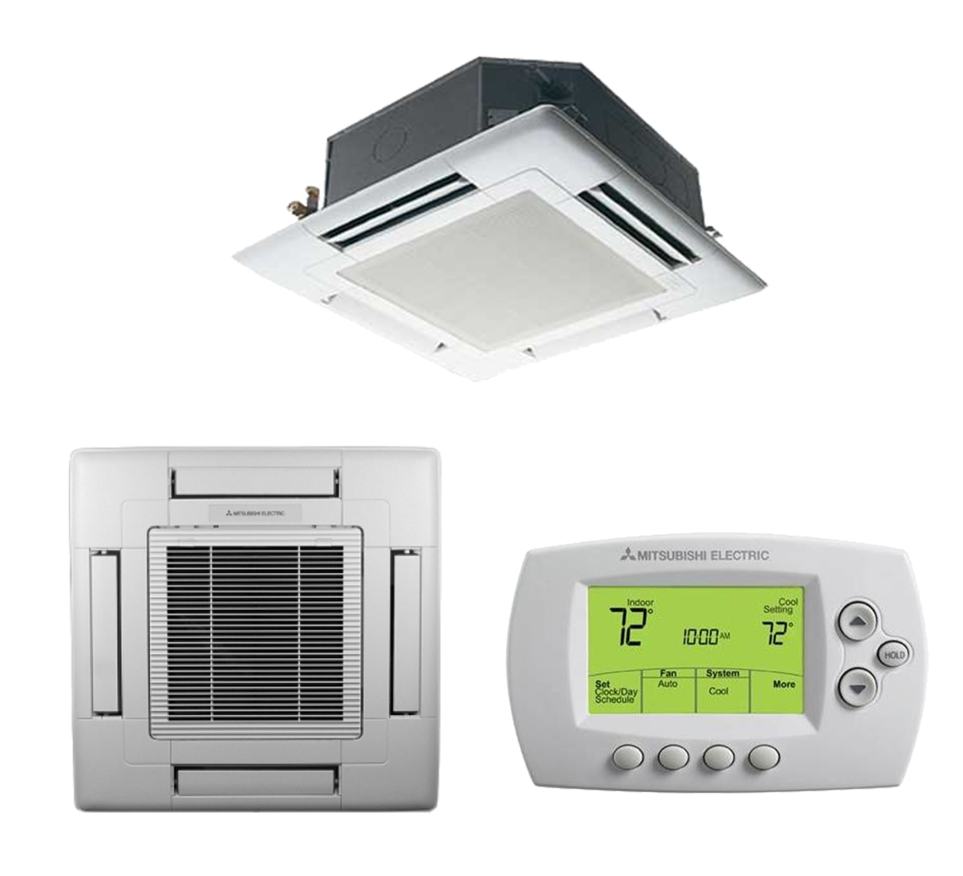 15K BTU Mitsubishi SLZ-KF Ceiling Cassette Heat Pump Indoor Unit with MHK1 Kit and Mounting Grille