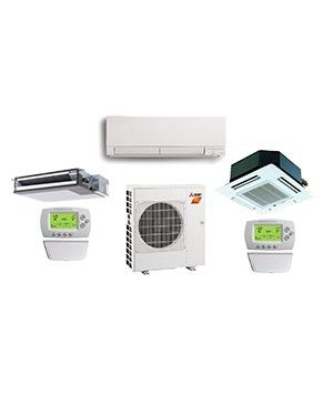 Mitsubishi 2 Zone 20K BTU Heat Pump Hyper Heat With Two Indoor Units