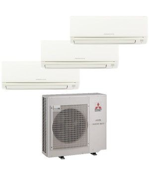 Mitsubishi Mr Slim 3 Zone Heat Pump with (2) 9K BTU indoor units and (1) 17k BTU Unit