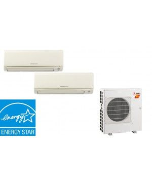 Mitsubishi 20K BTU 17SEER 2 Zone Heat Pump Hyper Heat With Two (2) 9K BTU Wall Mount Units