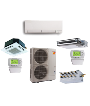 Mitsubishi 5 Zone 42K BTU Heat Pump Hyper Heat Ductless Mini Split With up to Five Indoor Units