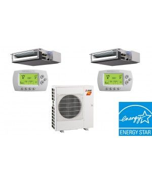 Mitsubishi 20K BTU 15SEER  2 Zone Heat Pump Hyper Heat With Two (2) 9K BTU Concealed Ducted Units