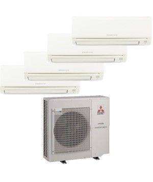 Mitsubishi Mr Slim 4 Zone Heat Pump Ductless Mini Split with (3) 9K BTU indoor units and (1) 15k BTU unit