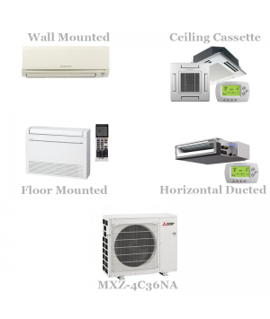Mitsubishi 4 Zone Mini Split AC Heat Pump System, 18 SEER - 36,000 BTU Model MXZ-4C36NA With 9+9+9+9 BTU Indoor Units