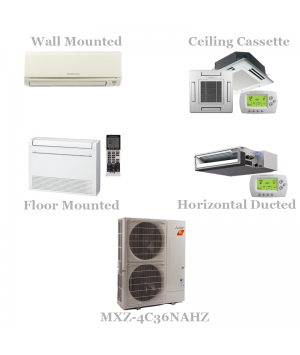 Mitsubishi 4 Zone Mini Split AC Heat Pump System, 19 SEER - 36,000 BTU Hyper Heat Model MXZ-4C36NA With 9+9+9+15 BTU Indoor Units