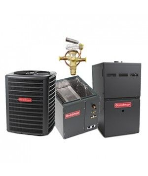 Goodman 2.0 Ton 14 SEER Heat Pump with 60K BTU 80% Efficient Two Stage Variable Speed Gas System Upflow