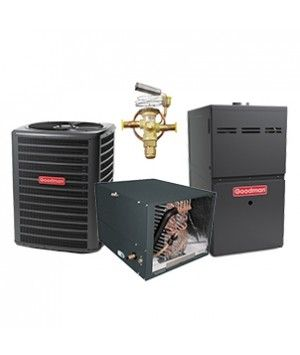 Goodman 2.5 Ton 14 SEER Heat Pump with 80K BTU 80% Efficient Two Stage Variable Speed Gas System Horizontal