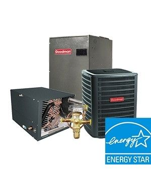 Goodman 2.0 Ton 18 SEER  Two Stage System with 96% Efficient 40K BTU  Natural Gas Furnace Two Stage Variable Speed Horizontal Energy Star