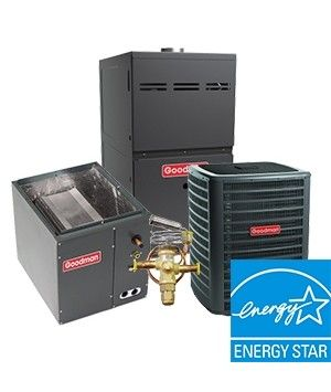 Goodman 4.0 Ton Heat Pump System Two Stage 18 SEER with 80K BTU 80% Natural Gas Furnace Two Stage Variable Speed Energy Star