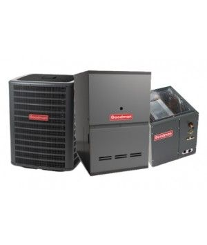 Goodman 3.0 Ton AC with 80K BTU 80% Natural Gas Furnace Two Stage Downflow System