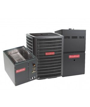 Goodman 2.0 Ton 13 SEER 80% Efficient 60,000 BTU Single Stage Gas Furnace & Air Conditioning System - Upflow
