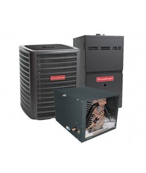 Goodman 4.0 Ton 13 SEER 80% Efficient 80,000 BTU Single Stage Gas Furnace & Air Conditioning System - Horizontal