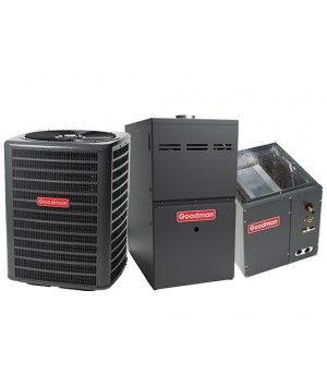 Goodman 2.5 Ton 14 SEER 60K BTU 80% Natural Gas Furnace Single Stage Multi Speed Upflow 17 1/2""