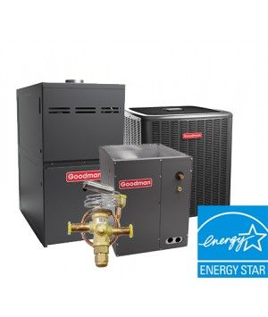 Goodman 2 Ton 18.5 SEER Heat Pump with 80% 60K BTU Natural Gas System Two Stage Energy Star Upflow