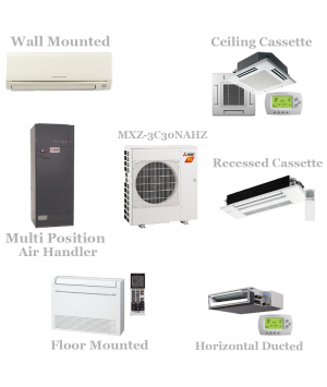 Mitsubishi 3 Zone Mini Split Heat Pump AC System MXZ-3C30NAHZ - 30,000 BTU Hyper Heat With Up To 3 Indoor Units