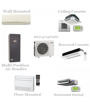 Mitsubishi 3 Zone Mini Split Heat Pump AC System MXZ-3C24NAHZ - 24,000 BTU Hyper Heat With Up To 3 Indoor Units