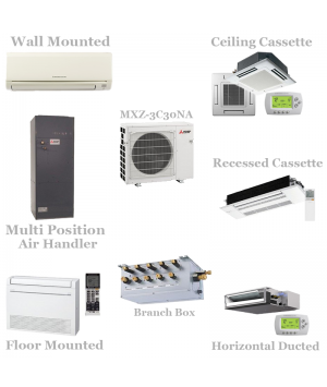 Mitsubishi 3 Zone Mini Split Heat Pump AC System MXZ-3C30NA - 30,000 BTU With Up To 3 Indoor Units