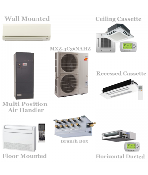 Mitsubishi 4 Zone Mini Split Heat Pump AC System MXZ-4C36NAHZ - 36,000 BTU Hyper Heat With Up To 4 Indoor Units
