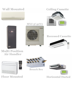 Mitsubishi 5 Zone Mini Split Heat Pump AC System MXZ-5C42NA - 42,000 BTU With Up To Five Indoor Units
